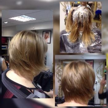 окрашивание седины, изменение формы волос. До и после.